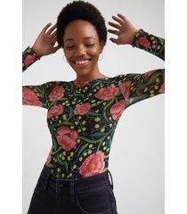 slim floral bodysuit - black - xl
