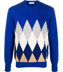 ballantyne diamond pullover cashmere jumper - blue