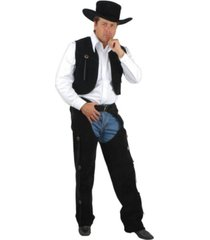 buyseasons men's black suede chaps and vest adult costume