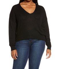 plus size women's bp. rib v-neck cotton blend sweater