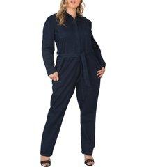 plus size women's standards & practices janeen belted denim boilersuit, size 1x - beige