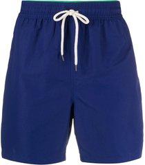 polo ralph lauren short de natação com logo bordado e ajuste no cós - azul