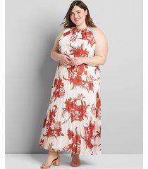 lane bryant women's halter pleated maxi dress 28 white/red botanical print