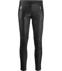 alexander mcqueen lace-trim skinny leather trousers - black