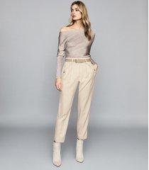 reiss isla - metallic asymmetric top in silver, womens, size xl