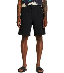 river island nibbled cotton knit shorts, size small in black at nordstrom