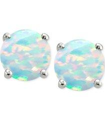 giani bernini cubic zirconia synthetic opal stud earrings in sterling silver, created for macy's