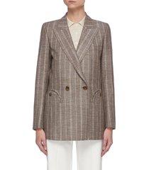 'wind' pinstripe double breast silk linen blazer