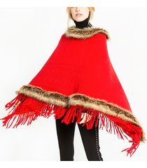donna tassel poncho in pelliccia tinta unita con cappuccio sciarpe calde mantella scialle moda pelliccia con cappuccio scialle