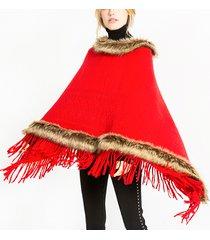 donne tassel poncho di pelliccia artificiale solido con cappuccio sciarpe calde mantello scialle di pelliccia moda con cappuccio scialle