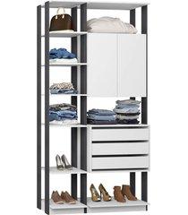 closet com armário 3 gavetas branco e espresso lilies móveis