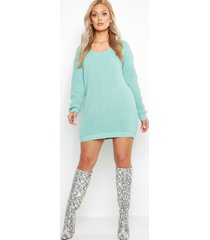 plus v neck sweater mini dress, sage