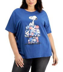 freeze 24-7 trendy plus size snoopy floral-house-graphic t-shirt