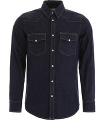 alexander mcqueen denim shirt with embroidered logo