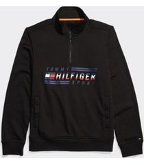 tommy hilfiger men's adaptive signature mockneck sweatshirt jet black - m