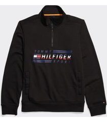 tommy hilfiger men's adaptive signature mockneck sweatshirt jet black - xxl
