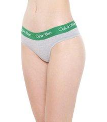 calcinha calvin klein underwear tanga logo cinza/verde