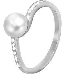 anello in argento 925, perle e zirconi per donna