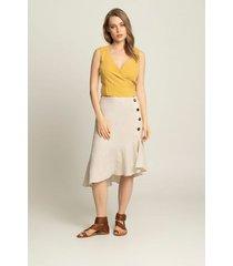 falda corta lino para mujer botones