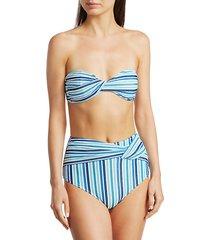 metallic stripe bandeau bikini top