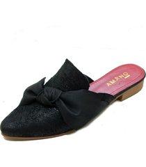 babucha cuero nudo negra amano shoes