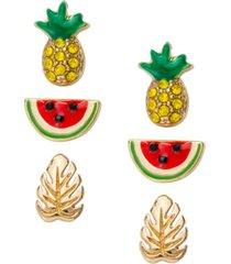 rachel rachel roy gold-tone 3-pc. set pave pineapple stud earrings