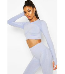fit contouring seamless long sleeve crop top, blue
