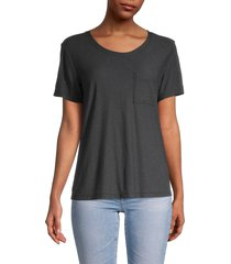 james perse women's heathered pocket t-shirt - grey - size 3 (l)