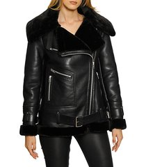 celine leather faux fur jacket