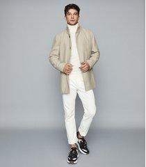 reiss angelo - wool blend mid length coat in oatmeal, mens, size xxl
