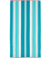 martha stewart collection awning stripe velour beach towel, created for macy's bedding