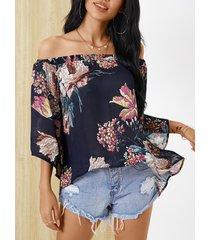 yoins blusa con abertura en el hombro con estampado floral aleatorio azul marino
