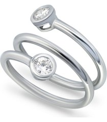 giani bernini cubic zirconia bezel wrap ring in sterling silver, created for macy's