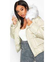 plus faux fur hooded puffer parka jacket, sage