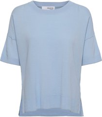 sfwille ss knit pullover blouses short-sleeved blå selected femme
