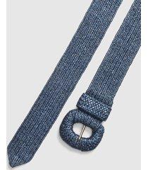 lane bryant women's faux-straw stretch belt 22/24 navy