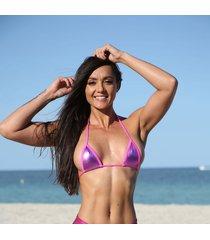 hot pink metallic sassy mini triangle top bikini tops