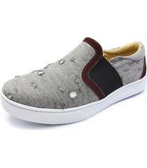 sapatênis click calçados tecido jeans cinza moderno leve resistente