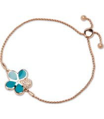 marahlago blue mother-of-pearl & white sapphire (1/4 ct. t.w.) bolo bracelet in rose gold-plated sterling silver