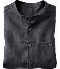 linnen overhemd 1/1-mouw, leisteengrijs s
