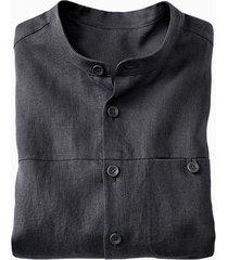 linnen overhemd 1/1-mouw, leisteen m