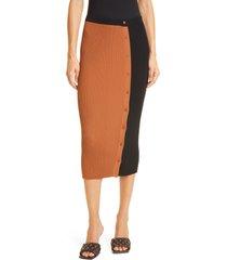 staud elms colorblock knit skirt, size medium in tan/black at nordstrom
