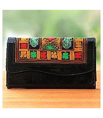 cotton accent clutch, 'hulumasen in black' (indonesia)