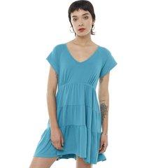 vestido corto manga corta escalonado turquesa mujer corona