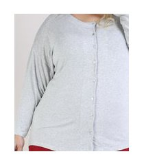 pijama feminino plus size blusa com botões manga longa decote redondo cinza mescla