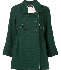chanel pre-owned double breasted flared coat - green