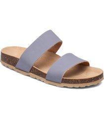 twin strap slip in shoes summer shoes flat sandals blå bianco