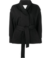 ba & sh belted fitted jacket - black