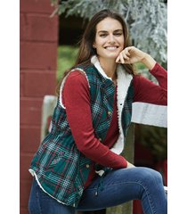 maurices womens green plaid sherpa lined cinch waist vest