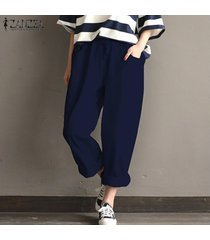 zanzea mujeres ocasionales pantalones anchos de la pierna de algodón suelta más pantalones harem -azul